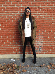 Nadine - Forever 21 Knit Sweater, Steve Madden Black Suede Boots, Topshop Winter Coat - Bae it's cold outside