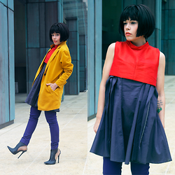 Priscila Diniz - Yellow Coat, Jeffrey Campbell Boots, Asos Blue Trousers, Let Them Stare Grey Dress, Red Top - Layers and colors