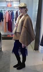 Anastasiia Masiutkina - Burberry Cap, Burberry Winter Cloak, Burberry Skirt By, Stuart Weitzman Boots - Winter style by Burberry!)