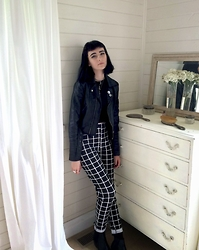 Amelia Goldie - Boohoo Grid Trousers, Asos Crop Top, The Iconic Leather Jacket - YOU ARE ALWAYS ON MY MIND