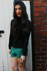 Stacey Joanne Marie Ford - Primark Polo Neck Top, Forever 21 Shorts - Green Lace Shorts