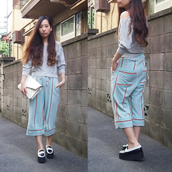 Yu Kuwabara - G.V.G.V. Off Shoulder Sweat Shirt, Bodco Cropped Striped Pajama Pants, J.W.Anderson Bi Color Platform Moccasins, Dholic Leather Clutch - Pajama Pants