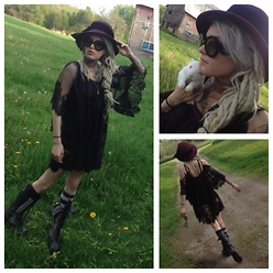 Alloy Ash - Vintage Find Hat, Prada Baroque, Free People Lace Tunic, Jeffrey Campbell Seatle Love Boot - Fields of bunnys