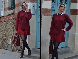 Joanna P. - Khaan Shirt, Ganni Sweater, Zara Skirt, Modress Bag, Just Fab Cutout Boots - Preppy