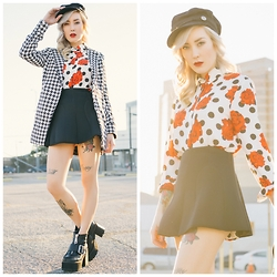 Brittany Bao - Style Moi Skater Skirt, Style Moi Wool Cap, Style Moi Dogtooth Coat, Style Moi Polka Dot And Roses Button Down, Staley Boot - Downtown Girl