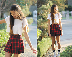 Megan H - Urban Outfitters Pleated Skirt, White Crop Top, American Apparel Striped Socks, Converse Sneakers, Urban Outfitters Watch - Schoolgirl