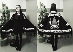 Evy Marie - Unif Poncho, Disturbia Thursday Dress, Ivory Jar Backpack - PSYCHIC