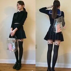 Jennifer S. - American Apparel Crop Sweater, American Apparel Pleated Skirt, Shimakaze Cosplay Top, American Apparel Transparent Bag, Milkbbi Mecha Pouch, American Apparel Jellie Sandals - Impromptu Seifuku