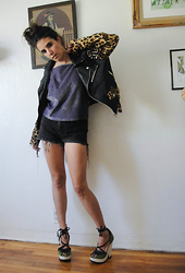 Christine Bourie - Unif Studded Leopard Print Jacket, Total Recall Vintage Metallic Purple Tank, Total Recall Vintage High Waist Cutoff Shorts, Tba Lace Up Peep Toe Wedges - Biker babe vibes.