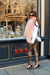 Jenna Poitras - Lucy Paris Gold Sequin Pants, Alice And Olivia Fur Scarf, Theory Naibel Blazer - Leave a little Sparkle where ever you go this holiday