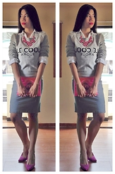 Cassey Cakes - Mango Sweater, Maldita Pencil Skirt, Dorothy Perkins Suede Pumps, Mango Clutch Bag, Unbranded Statement Necklace - Gray on Gray (with Pink Accents)