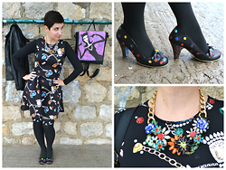 "Miss Dee STyle - H&M Diamond Printes Dress, Irregular Choice ""Spot The Dott"" Heels, Miss Dee Hand Made Bags Catwoman Backpack, Second Hand Flowers Themed Statement Necklace, E Bay Kitty Themed Stockings - Diamonds and Backpacks"