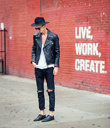 Chaby H. - H&M Leather Biker Jacket, Masamod Fedora Hat By Hungarian Designer, Vintage Diy, Derby Shoes Leather - LIVE, WORK, CREATE -NYC