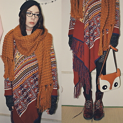 Candy Thorne - Thrifted Giant Cardigan, Monki Giant Scarf, Dr. Martens Red Velvet Docs, Kitsune Bag - Kitsune