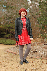 Jamie Rose - Forever 21 Red Plaid Mock Neck Dress, Ashley By Twenty Six International Black Leather Jacket, Forever 21 Gray Tights, Boohoo Black Cutout Ankle Boots - Plaid Mock Neck Dress