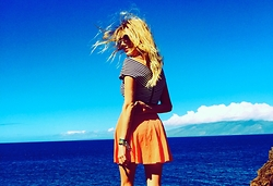 Brittany Shae - Urban Outfitters Crossed Crop Top, Kimchi Blue Snap Front Skater Skirt - Lapis in Paradise