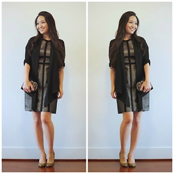 Kimberly Kong - Pim + Larkin Dress, Handbag Heaven Bag, Kate Spade Shoes, Say What? Cardigan - Moments of Chic
