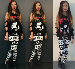 Monica Seet - Forever 21 Bow Clip, Forever 21 Kiss Tee, Adidas Printed Leggings, Topshop Cut Out Oxfords, H&M Necklace - Its all for the love of rock and roll