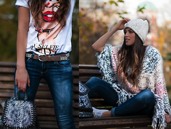 INGRID BETANCOR - Rock And Love T Shirt, Rock And Love Leather Belt, Rock And Love Skinny Jeans, Rock And Love Knitwear Poncho Cape, Rock And Love Beanie, Rock And Love Silver Metallic Backpack - ROCK AND LOVE