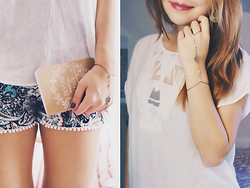 Rachel T - Hearts And Bows Paisley Shorts, Thechocoberryshop Hand Chain, Forever 21 White Top - I ♡ patterned shorts