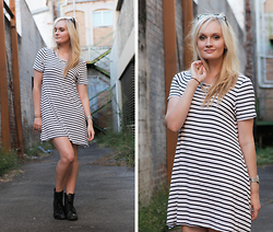Izzy Bea - I Like Wolves Striped Dress, Roc Combat Boots - FAUX PAS