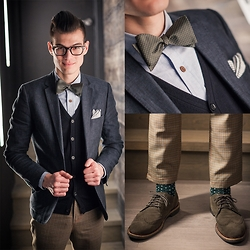 Chris Nicholas - Pin Dot Bow Tie, Trend Clothing Chambray Shirt, Nuno Apparel Plaid Wool Pants, Cole Haan Olive Suede Wingtips, H&M Navy Blazer - Dots