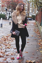 Jaclyn - Laura Ashley Cashmere Jumper, Vintage Black Coat, H&M Fur Stole, Topshop Black Jeans, Next Pink Suede Courts, Vintage Grey Leather Clutch, Laura Ashley Statement Necklace - Pink Accents