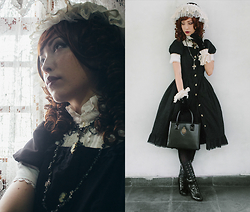 Carolina Sakuma - Tao Bao Hat, Tao Bao Collar, Tao Bao Necklace, Le Carrousel Shirt, Selfmade Rosary, Cameo The Label Overdress With Buttons, Tao Bao Wristcuff, Street Dealer Gloves With Pearls, Le Carrousel Underskirt, Metamorphose Logo Bag, Tao Bao Lace Tights, Doppo Boots - 141106 home