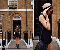Emma Lucey - Keepsake Playsuit, Lack Of Color Hat - That one time in london ...