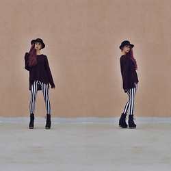 Emily - Black Milk Clothing Beetlejuice Leggings, Jeffrey Campbell Back Offs, H&M Chunky Sweater - Back Home