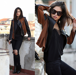 Adriana Gastélum - Cami Nyc Lace Camisole, Sheinside Busted Knee Jeans, 3.1 Phillip Lim Suede & Leather Jacket, Wildfox Sunnies, Coach Booties, Reiss Leopard Bag - Beyond the basics