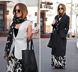 Iren P. - Style Moi White Sleeveless Blazer, Yesfor Floral Printed Black And White Palazzo Pants, Asos Heart Cut Out Plastic Shopper Bag, Stradivarius Grid And Daisy Printed Scarf, Vintage Velvet Crop Top, Asos Grey Rubber Aviator Sunglasses, Pack Of Three Matte Black Rings, Bershka Duster Coat, Zara Studded Kitten Heels - Palazzo Pants with Sleeveless Blazer