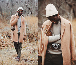 Andy Jackson - Zara Mock Knit Sweater, Asos Olive Trousers, Apt. 9 Brown Brogues, Portolano Knit Beanie, Gmarket Tan Coat - Into the Woods