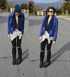 Bethany R. - Forever 21 Motorcycle Jacket, American Eagle Outfitters Jeggings, The Frye Company Harness Boot - Blue Ink
