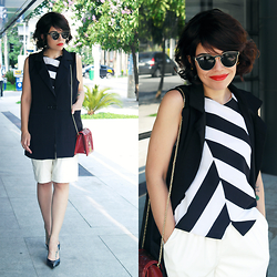 Priscila Diniz - Black And White Striped Top, Black Vest, White Faux Leather Shorts, Red Pirarucu Leather Luxury Bag, Sunglasses - Black and white