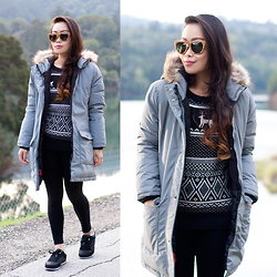 Toshiko S. - Woodzee Claudia Zebra Wood Sunglasses, Old Navy Down Filled Jacket, Old Navy Fair Isle Sweater, Old Navy Sneakers - Take a Hike