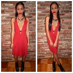 RAY RAY - Fredericks Of Hollywood Deep V Dress, Selly High Low Booties - Little Red Dress //