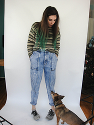 Christine Bourie - Total Recall Vintage 90s Cropped Sweater, Acid Reign High Waist Wash Jeans - Lil assistant
