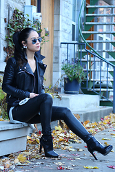 Tweety Ho - Zara Black Leather Booties, H&M Black Faux Leather Pants, Zara Black Faux Leather Biker Jacket - All Black Errthang