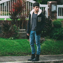 Ira Giorgetti - Hollisteer Hoodie, Topman Army Boots, All Saints Skinny Jeans, Thread 365 V Neck, Asos Dogtags - Fleece