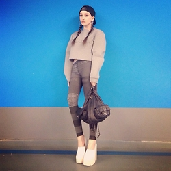 Lil Alina - Jeffrey Campbell Platform Shoes, Chanel Backpack, Alexander Wang Sweater, Alexander Wang Leggins, Karl Alley Snapback - WANG