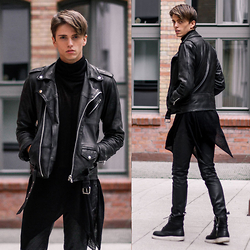 Georg Mallner - Shusta Leather Jacket, Widow Ghostly Sweater, Hugo Boss Coated Pants, Dr. Martens Jayvon - December 19, 2014