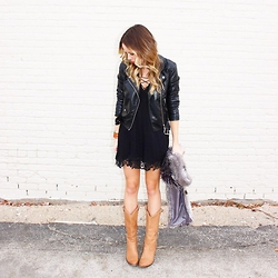 Anna Schowe - Free People Slip, Topshop Scarf, The Frye Company Boots - Black + Tan