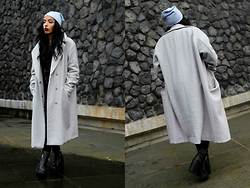 Karima A. - Coat - Grey tones and a touch of baby blue