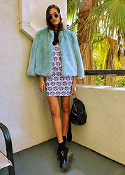 Gizele Oliveira - Illustrated People Dress, Zara Jacket, Unif Backpack, Yru Shoes - Blue fur