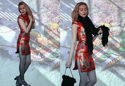 Alice Young - Kaii Zhang Cheongsam, Clarks Shoes, Charity Shop Feather Boa, Charity Shop Fluffy Bag - Year of the Dragon