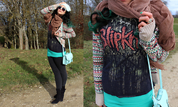 Anja - Primark Turquoise Beanie, Local Medieval Market Silver Moonstone Ring, Second Hand Band Shirt Of Slipknot, H&M Colorful Winter Cardigan, H&M Necklace Flying Horses In Silver - Next to Parallel.
