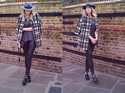 IIDA H - H&M Fedora, Zara Silk Blouse, By Malene Birger Leather Leggings, &Other Stories Heels, By Malene Birger Coat, Zara Pearl Necklace, H&M Bag - Checkered