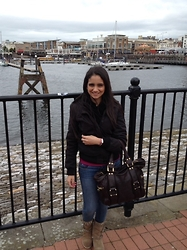 Amani Ghareeb - H&M Jacket, Zara Sweater, American Eagle Outfitters Jeans, Zara Boots, Bhs Scarf, Jimmy Choo Bag - Cardiff Bay