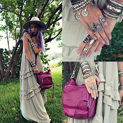 Sera Brand - Free People Maxi Dress, Lack Of Color Aus Silver Montana Muse, She + Lo Unchartered Hobo Bag, Indiverve Silver Cuff, Artefacts Collection Tibetan Tri Stone Amethyst Ring, The Faint Of Heart Crystal Wire Wrapped Ring - Unchartered